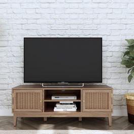 LPD Bordeaux 2 Door TV Unit with Gold Handles and Rattan Effect Fronts
