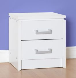 Seconique Charles 2 Drawer Bedside Cabinet in White