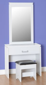 Seconique Charles 1 Drawer Dressing Table Set in White