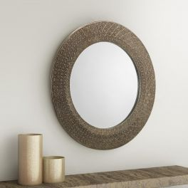 Julian Bowen Cadence Morrocan Inspired Small Round Pewter Wall Mirror