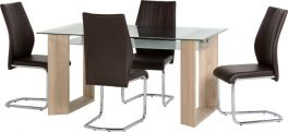 Seconique Milan 1+4 Dining Set - Glass / Sonoma Oak & Brown Leather