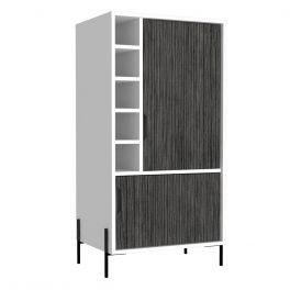 Core Dallas White & Carbon Grey Drinks & Glassware Storage Bar