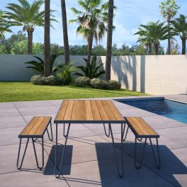 Novogratz Paulette Poolside Outdoor Patio Dining Table and Bench Set Charcoal