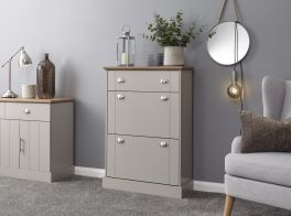 Kendal Country Style Deluxe Shoe Storage Cabinet - Grey with Oak Top