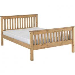 Seconique Monaco 4ft6 Double Bed - Distressed Pine