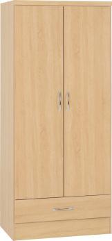 Seconique Nevada 2 Door 1 Drawer Wardrobe Sonoma Oak
