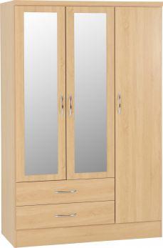 Seconique Nevada 3 Door 2 Drawer Mirrored Wardrobe Sonoma Oak