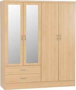 Seconique Nevada 4 Door 2 Drawer Mirrored Wardrobe Sonoma Oak