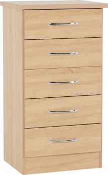 Seconique Nevada Bedroom Furniture 5 Drawer Narrow Chest Of Drawers - Sonoma Oak