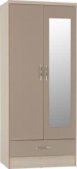 Seconique Nevada Mirrored 2 Door 1 Drawer Wardrobe Oyster Gloss & Light Oak