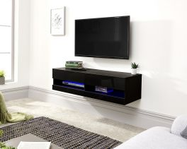 Galicia Wall Mounted Gloss TV Unit with LED - 120cm Black