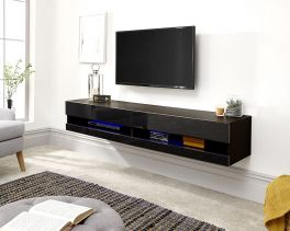 Galicia Wall Mounted Gloss TV Unit with LED - 180cm Black