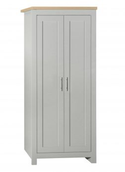 Birlea Highgate 2 Door Wardrobe - Grey & Oak - Farmhouse Style