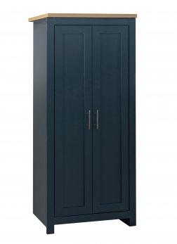 Birlea Highgate 2 Door Wardrobe - Navy Blue & Oak - Farmhouse Style