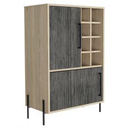Core Harvard Oak & Carbon Grey 2 Door Drinks Bar Cabinet
