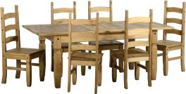 Seconique Corona Mexican Pine Extending Dining Set - Supplied with Six Chairs