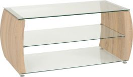 Seconique Monza 3 Tier Open Shelf Curved Edge Glass TV Unit Stand Sonoma Oak