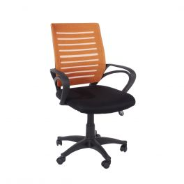 Core Loft Home Office Chair with Arms - Orange Mesh Back Black Fabric Seat