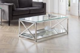 Julian Bowen Miami Luxury Coffee Table - Chrome Frame and Tempered Glass