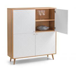 Julian Bowen Moritz Scandi Style 4 Door Cabinet - Oak with White Fronts