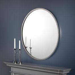 Julian Bowen Octave Minimalist Round Pewter Wall Mirror