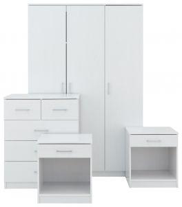 Panama 4 Piece Bedroom Set - 2x Bedside, Drawers & 3 Door Wardrobe - White