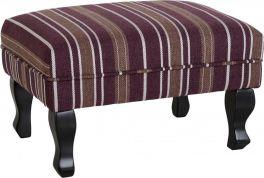 Seconique Sherborne Burgundy Striped Footstool - Dark Wooden Feet