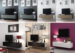 Caspian VIGO High Gloss TV Cabinet   Wall Mounted   Floating Entertainment Unit 140cm