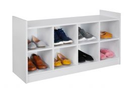 Alaska White Shoe Tidy Cabinet Storage Shelving Bench - Fits 8 Pairs of Shoes