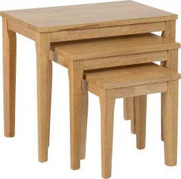 Seconique Logan Living Room Nest Of Tables Oak Varnish