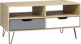 Seconique Bergen 2 Drawer Living Room Coffee Table Oak Effect & White