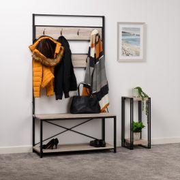 Seconique Warwick Hallway 7 Hook Coat Rack Shoe Storage Unit Oak & Black
