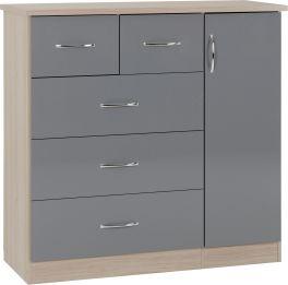 Seconique Nevada 5 Drawer Low Wardrobe Grey Gloss & Light Oak