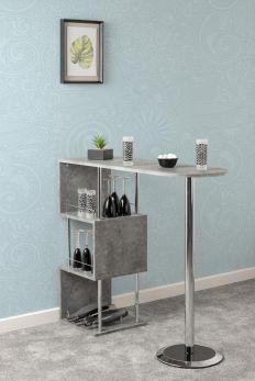Seconique Charisma Home Bar Wooden Table - Concrete Effect & Chrome