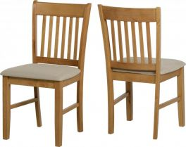 Seconique Oxford Solid Wood Dining Chairs - Mink Microsuede Seat, Set of 2
