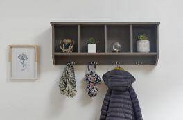 Kempton Wall Rack with Coat Hooks - Grey, Oak or White