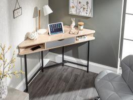 Telford Corner Desk with Drawer and Shelves - Home Office Desk - Light Oak & Grey