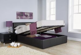 Ascot Black Faux Leather Chunky Ottoman Storage Bed with Curved Headboard - 4ft6 & 5ft