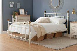 Birlea Atlas Cream Metal Bed, Antique Brass Finials - 3ft Single, 4ft & 4ft6 Double