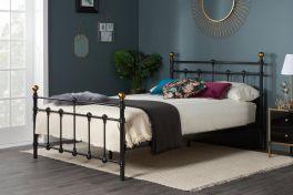 Birlea Atlas Black Metal Bed, Antique Brass Finials - 3ft Single, 4ft & 4ft6 Double