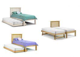 Julian Bowen Barcelona Solid Wood Trundle Hideaway Bed - Pine or White