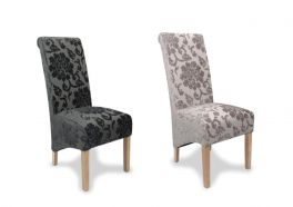 2x Krista Scroll Dining Chairs - Baroque Charcoal or Mink