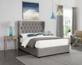 LPD Belgravia Grey Fabric Lift Up Storage Ottoman Bed - 4ft6 Double, 5ft Kingsize or 6ft Super King