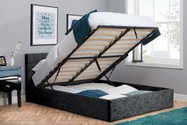 Birlea Berlin Black Crushed Velvet Ottoman Storage Bed - 3ft, 4ft, 4ft6 & 5ft