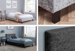 Caspian® Standard Crushed Velvet Bed - Black or Silver - Optional Mattress - 3ft, 4ft, 4ft6 & 5ft