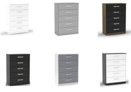 Birlea Lynx High Gloss 5 Drawer Chest - Choice of Colours