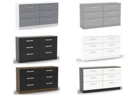 Birlea Lynx High Gloss 6 Drawer Chest - Choice of Colours