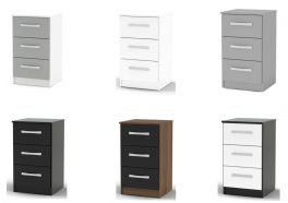 Birlea Lynx High Gloss 3 Drawer Bedside Cabinet - Choice of Colours