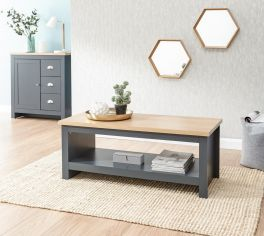 Lancaster Slate Blue Modern Living Room Furniture - Coffee Table with Shelf