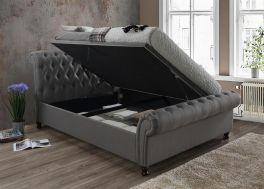 Birlea Castello Fabric Grey Side Lift Up Ottoman Storage Bed - 4ft6, 5ft & 6ft